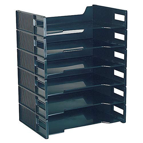 Innovative Storage Designs Stackable Letter Trays, Black, Pack of 6 (Overhead With Storage Desk Office)