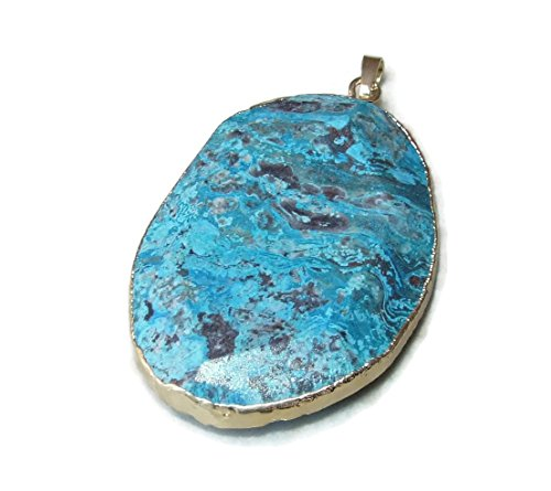 Beautiful Ocean Jasper Pendant - Ocean Jasper Faceted Pendant - Ocean Jasper Druzy Faceted Pendant - Blue, Mint Green, Rose Color Matrix- Gold Plated Edge and Bail 55mm - 60mm