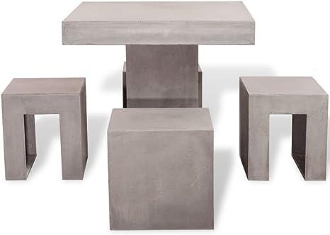 Tavoli Da Giardino In Cemento.Festnight 5 Pz Set Tavolo E Sedie Da Giardino Esterno In Cemento