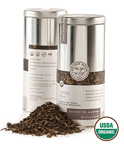 Golden Moon Tea - Vanilla Mint Tea - Organic - Loose Leaf - Non GMO - 2.5oz Tin - 30 ()