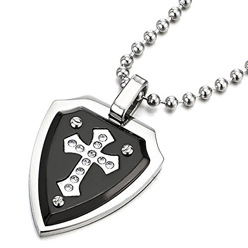 Knight Shield Pendant Necklace Stainless