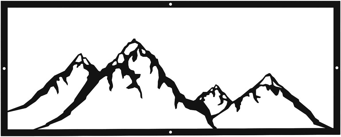 Mountain Landscape Scene Laser Cut Steel Metal Wall Art Sign for Home Cabin Garage Lodge Decor