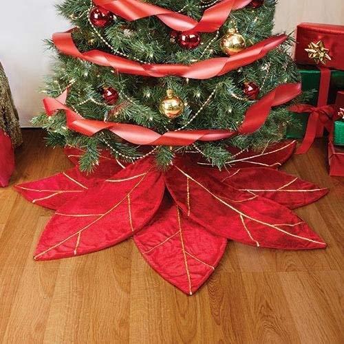 Red Poinsettia Christmas Tree Skirt