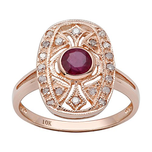 (10k Rose Gold Vintage Style Genuine Round Ruby and Diamond Ring)