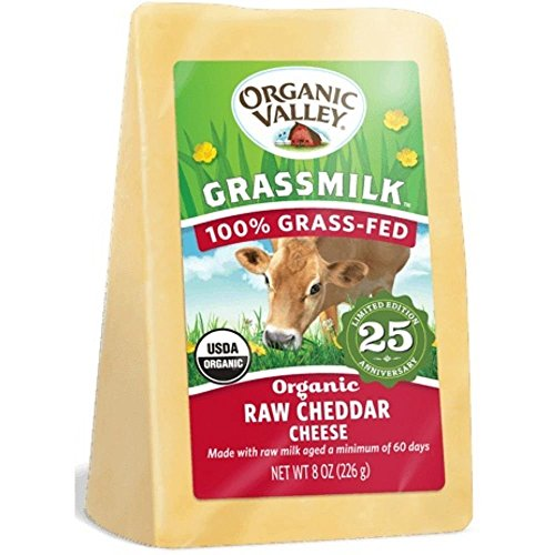 Organic Valley Raw Cheddar Grass Milk Cheese, 8 Ounce (Pack of 10)