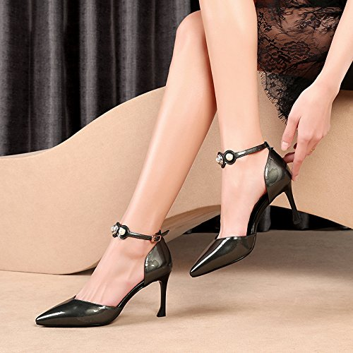 Stykker Vivioo Kvinder-sandaler Med Høje Sandaler Højhælede Damer Skobaotou-sandaler Med Fjeder Spænde Hule Diamant-tip-høje Hæle Farven 3wRzW