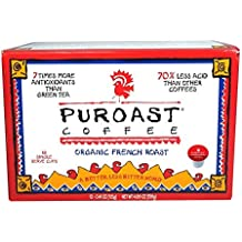 Puroast Coffee K-cups Low Acid Single Service (Organic French Roast, 3 Boxes)