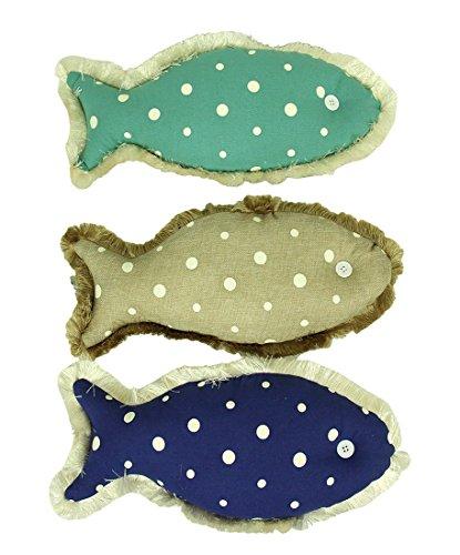 Set of 3 Polka Dot Canvas Fish Shaped Accent Pillows