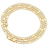 """MR. BLING 14K Two Tone Gold 3.5mm Pave Figaro Hollow Chain Necklace with Lobster Lock (16"""" 18"""" 20"""" 22"""" 24"""")"""