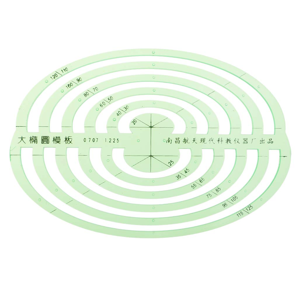 SM SunniMix 1 Pc Plastic Green Measuring Templates Geometric Rulers for Office and School, Building formwork, Drawings templates - Large Oval by SM SunniMix (Image #5)