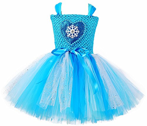 Tutu Dreams Halloween Princess Snow Queen Costumes for Girls Blue Snowflake Tutu Dresses Birthday Party Gift Role Play (L, Alsa) -