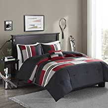 Comfort Spaces - Pierre Comforter Set - 4 Piece - Black / Red - Multi-Color Pipeline Panels - Kids / Boys Bedding Sets - Full/Queen size, includes 1 Comforter, 2 Shams, 1 Decorative Pillow