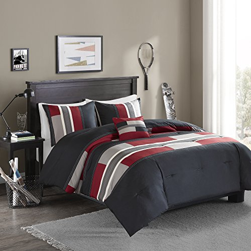 Comfort Spaces - Pierre Comforter Set - 3 Piece - Black / Red - Multi-Color Pipeline Panels - Kids / Boys Bedding Sets - Twin/Twin XL size, is made up of 1 Comforter, 1 Sham, 1 Decorative Pillow