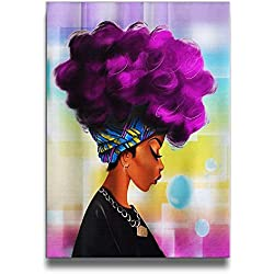 Martoo Art African Women With Purple Hair Artwork Abstract Oil Paintings On Canvas Ready To Hang For Home Decorations Wall Decor Pictures For Living Room bedroom
