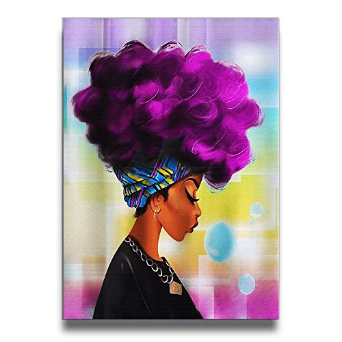 Mout-store Art African Women With Purple Hair Canvas Artwork Abstract wall decorations for bedroom Living room pictures for living room by Mout-store Art