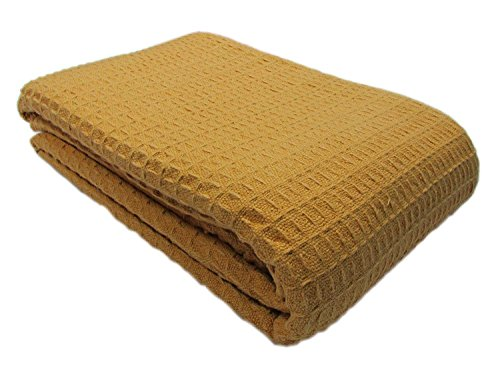 Santa Barbara Waffle Weave Blanket 100% Cotton FULL/QUEEN SIZE /Camel Color