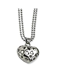 Stainless Steel Puffed Heart Heart Cutouts 22in Necklace