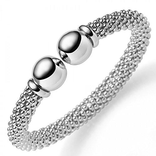 Framboise Bracelet Bracelet en or blanc 5858mm de largeur, ovale