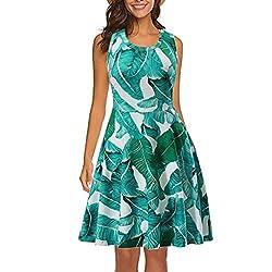 Ykaritianna Women Sleeveless Printing Summer Beach A Line Casual Dress Floral Dress