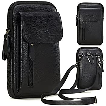 ba3b24907 VIIGER Leather Small Crossbody Travel Purse Crossbody Bag Large Cell Phone  Pouch Belt Holster Mini Shoulder Bag Belt Pouches for Men Belt Loop  Compatible ...
