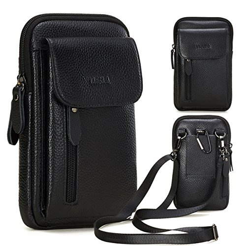 VIIGER Leather Small Crossbody Travel Purse Crossbody Bag Large Cell Phone Pouch Belt Holster Mini Shoulder Bag Belt Pouches for Men Belt Loop Compatible for iPhone Xs Max/X/6/7/8 Plus Galaxy S9 S10+