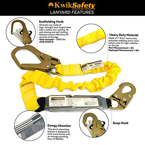 KwikSafety (Charlotte, NC) THUNDER KIT | 3D Full Body Safety Harness, 6' Lanyard, Tool Lanyard, 3' Cross Arm Strap Anchor ANSI OSHA PPE Fall Protection Arrest Restraint Construction Roofing Bucket by KwikSafety (Image #4)