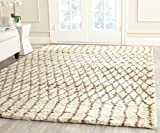 Safavieh Casablanca Shag Collection CSB860A Handmade Ivory and Grey Premium Wool & Cotton Area Rug (6′ x 9′)