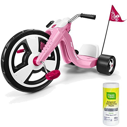 Radio Flyer Big Wheel Kids Pedal Ride On Tricycle for Girls, Pink with Disinfectant Wipes