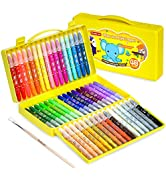 48 Colors Gel Crayons for Toddlers, Shuttle Art Non-Toxic Twistable Crayons Set with 1 Brush and ...