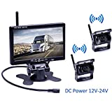 Podofo Wireless Backup Camera Kit DC 12V-24V Waterproof 7 Inch Screen Vehicle Monitor Parking Assist Night Vision Rear View Camera IR for Bus, Truck, Caravan, Heavy Utility Vehicle