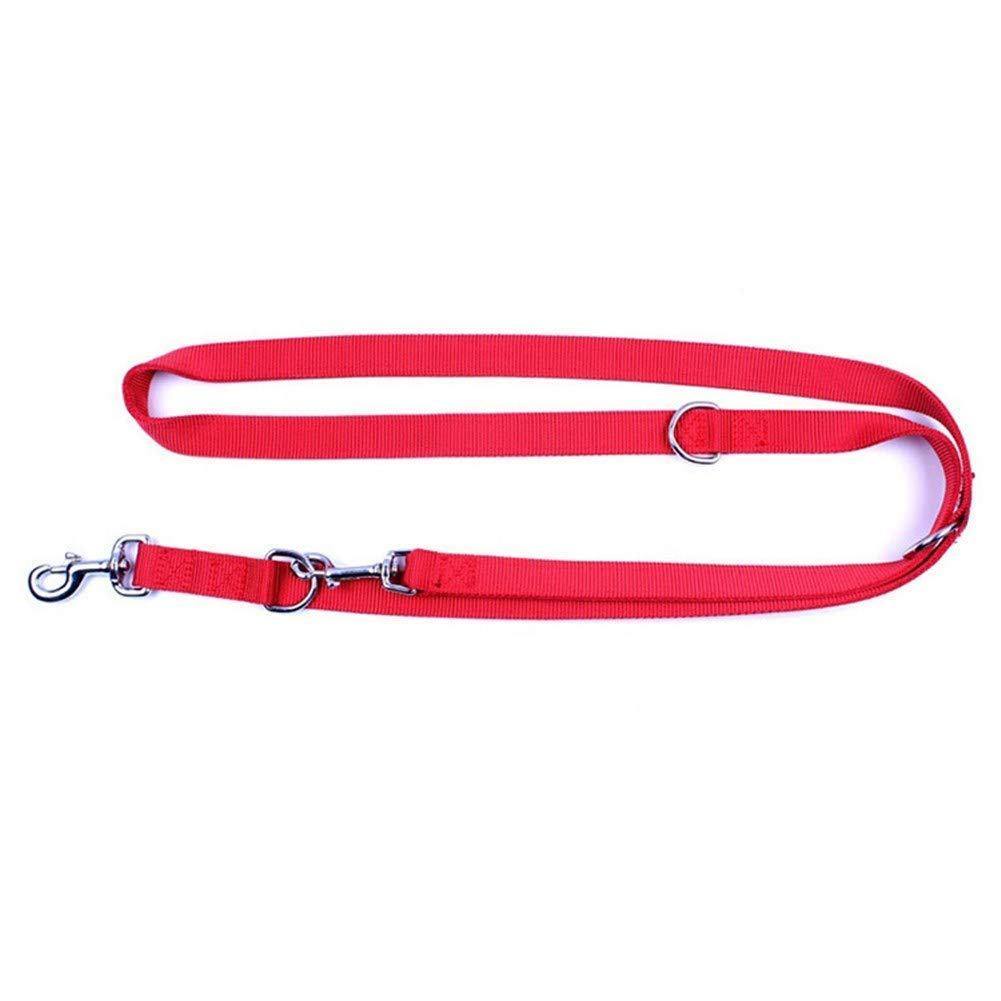 Red HSDDA Dog Outdoor Leash Pet leash double head nylon dog safety rope,red Walking Leash (color   Red)