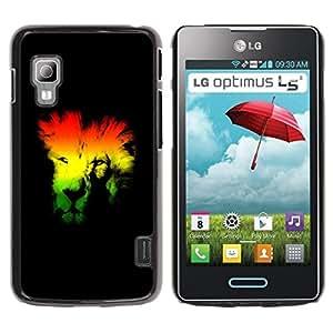 Be Good Phone Accessory // Dura Cáscara cubierta Protectora Caso Carcasa Funda de Protección para LG Optimus L5 II Dual E455 E460 // Rasta Lion