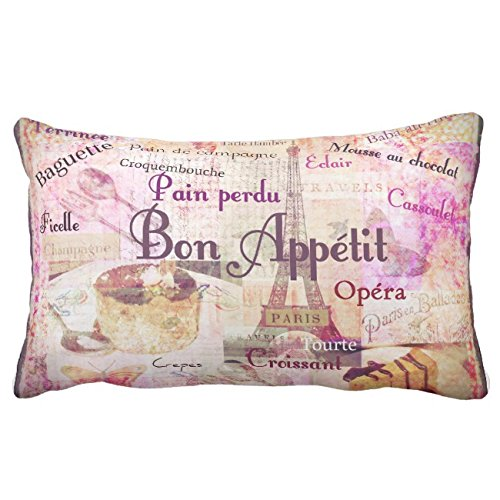 UOOPOO Bon AppTit French Food Words Paris Theme Decor Throw Pillow Case Square 12 x 18 Inches Soft Cotton Canvas Home Decorative Wedding Cushion Cover for Sofa and Bed One Side