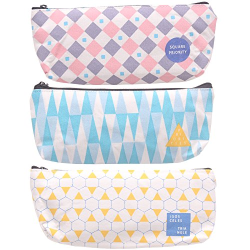 Zicome Pencil Pen Case Cosmetic Pouch Makeup Bag, Set of 3, Geometric Element Patterns