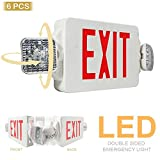 eTopLighting 6PCS LED Exit Sign Emergency Lighting Emergency LED Light (UL924, ETL listed) / Rotate LED Lamp Head / Red Letter, EL2CR-6