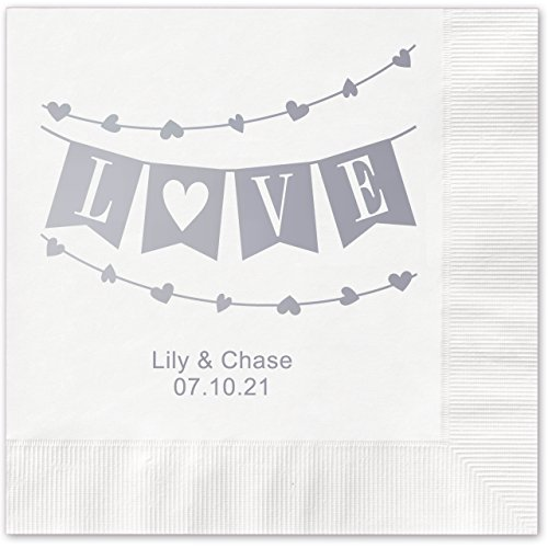 Banner Love Personalized Beverage Cocktail Napkins - 100 Custom Printed White Paper Napkins with choice of - Beverage Napkins Love