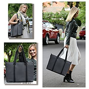BfB Neoprene Laptop Bag for Women – No More Boring Briefcases – Here's a 17 Inch Computer Bag Thats Lightweight and Stylish – Look And Feel Great Carrying This Designer Business Shoulder Bag - GREY