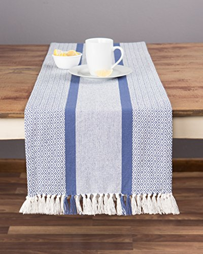 Woven Table Runner (Sticky Toffee Cotton Woven Table Runner with Fringe, Traditional Diamond, Blue, 14 in x 72 in)