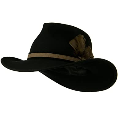 a4b3fa1713cc8 Jeanne Simmons Outback Wool Felt Fedora Hat with Feather - Black ...