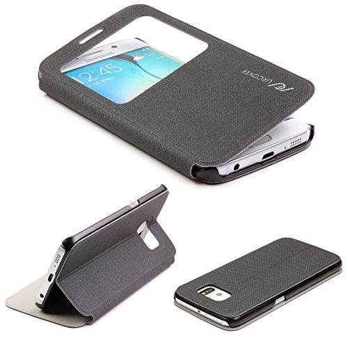 Original UrCover® View Hülle Case für das Samsung Galaxy S6 Edge G925 Schutzhülle Zubehör Hülle Schale Schwarz