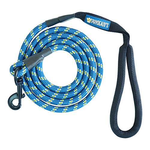 Phydeaux's Mountain Climbing Rope Dog Leash - 6 ft Long - Premium Quality - Perfect for Medium and Large Dogs (Blue)