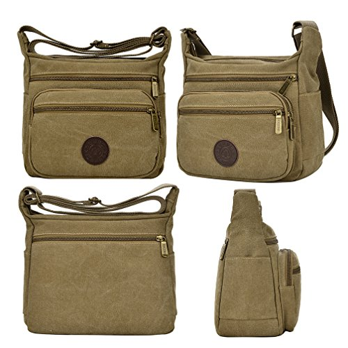 Canvas Bags Bag Body Khaki Multi Cross Shoulder Casual Zippers Messenger Fabuxry Bags PXwqtYtv