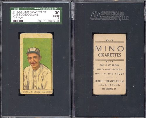 1911 mino cigarettes t216 (Baseball) Card# 19 eddie collins of the Chicago White Sox Good Condition (Cigarette Baseball Cards)