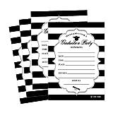 25 Elegant Graduation Party Announcement Invitations For 2018 College, High School, University Grad Celebration Invite Cards, Black Silver Fill In Invitations For Graduation Party Decorations Supplies
