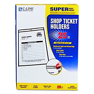 "9/"" x 12/"" C-Line Shop Ticket Holders 25 46912 Clear Stitched Both Sides"