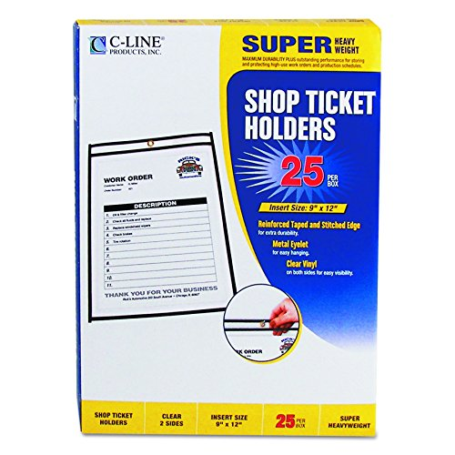 C-Line Stitched Shop Ticket Holders, Both Sides Clear, 9 x 12 Inches, 25 per Box (Cline Hanging Box)