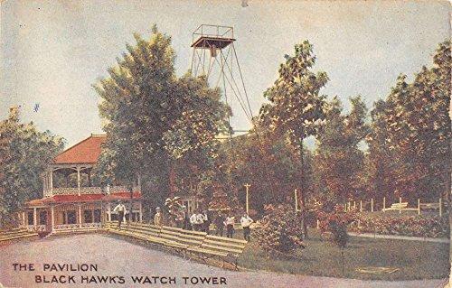 Rock Island Illinois Black Hawks Watch Tower Pavilion Antique Postcard -