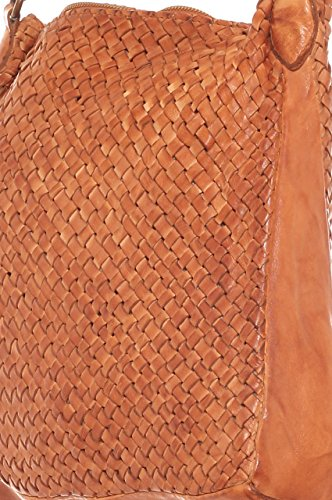 Borsa shopping donna in vera pelle intrecciata a mano tinta in capo Cioccolato