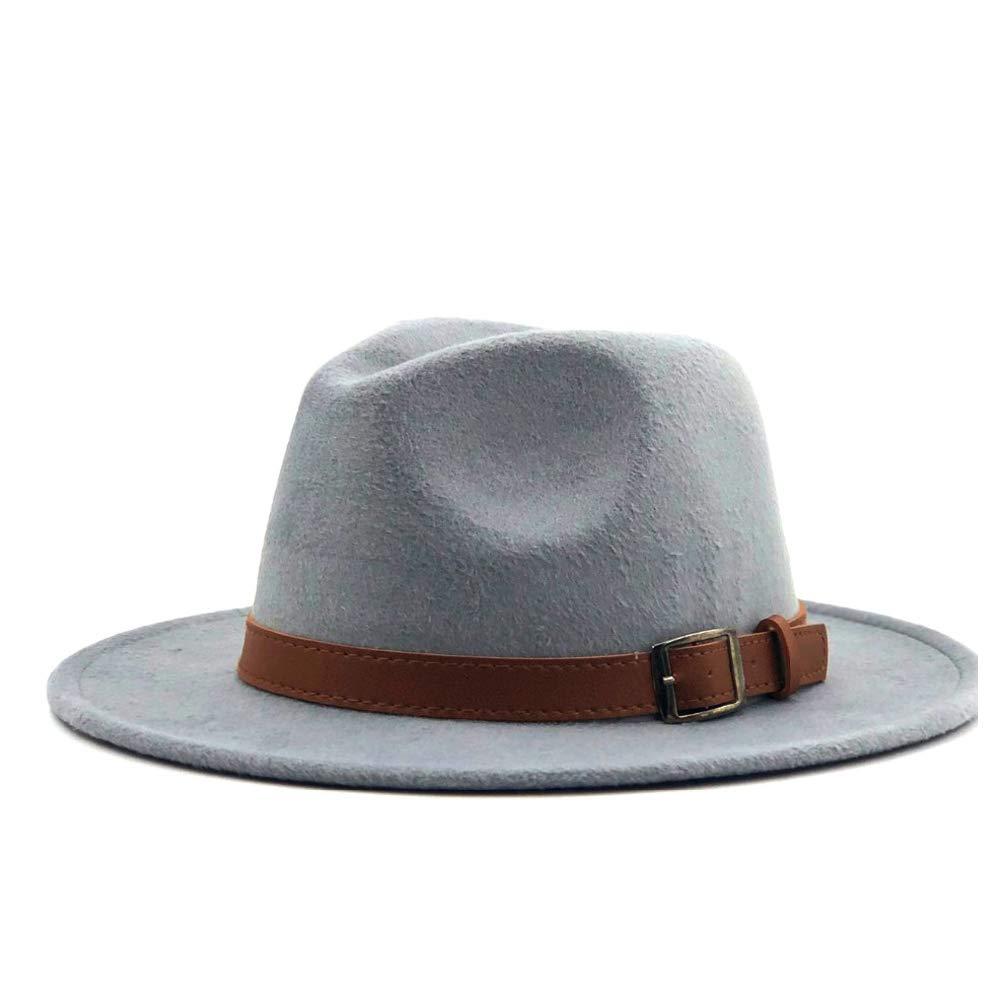 GHC gorras y sombreros Al aire libre Casual Jazz Hat Moda Hombres Mujeres Fedora Fedora Hat Jazz Hat Verano Primavera Negro Sombrero de mezcla de lana (Color : Gris, Size : 56-58cm)