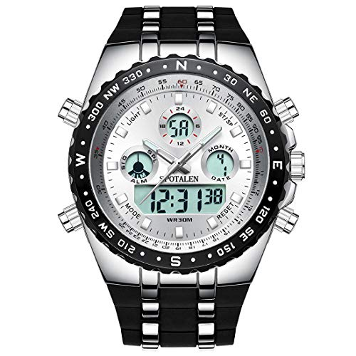 SPOTALEN Big Face Sport Watches for Men, Roman Numeral Waterproof Military Tactical Wrist Watches with Black Band